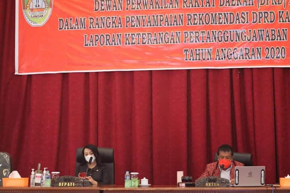 DPRD Landak Gelar Paripurna Tentang Catatan Strategis dan Rekomendasi Terhadap LKPJ Bupati 2020