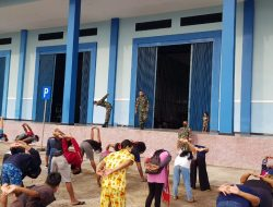 135 PMI Latihan Senam Kebugaran dari Satgas Pamtas Yonmek 643/ WNS